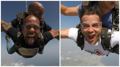 Víctor  Santiago y José 'El Negro' Figueroa se aventuran lanzándose de paracaídas