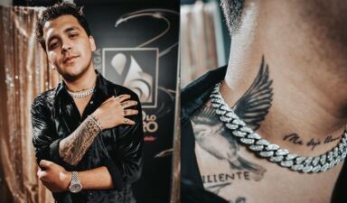 Un rosario, un ave, un ojo... Christian Nodal muestra todos (o casi) sus tatuajes