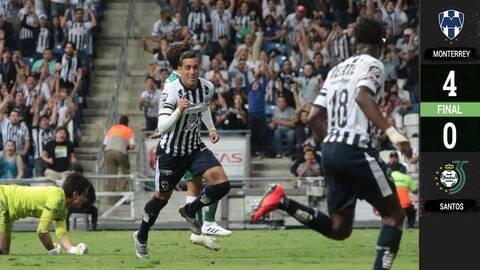 Rayados y Funes Mori vuelven a brillar con goleada ante Santos