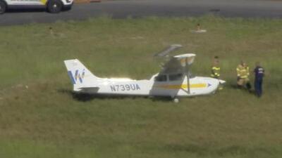 Un avioneta aterriza y se sale de la pista en el aeropuerto North Perry de Pembroke Pines