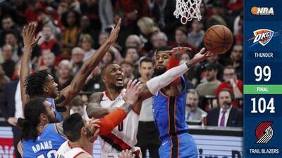 Pese a triple-doble de Westbrook, el Thunder cae ante los Blazers