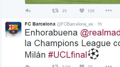 El Barcelona felicitó al Real Madrid por su undécima Champions