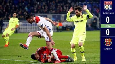 Barcelona saca un empate en casa del Lyon en un partido cerrado