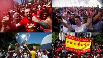 Los fanáticos de Liverpool y Tottenham se tomaron el fan fest de Madrid