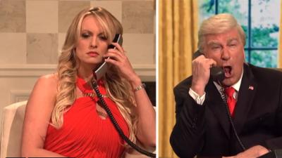 La actriz porno Stormy Daniels confronta a un supuesto Trump en SNL y le pide la renuncia