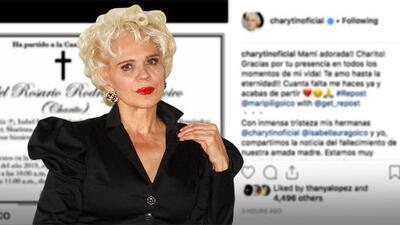 """""""¡Mami adorada!"""": Charytín Goyco sufre la pérdida de su mamá 'Charito'"""
