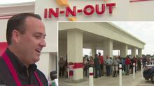Desde la madrugada empezaron a llegar los clientes en Houston para la apertura de In N Out