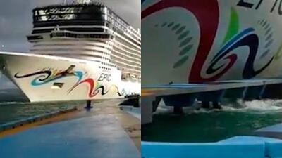 (VIDEO) Crucero que chocó contra muelle era remolcado