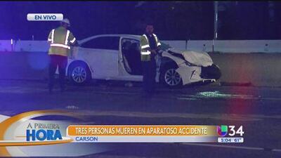 Accidente de tránsito deja a tres muertos y ocasiona el cierre de la autopista 405 en Carson