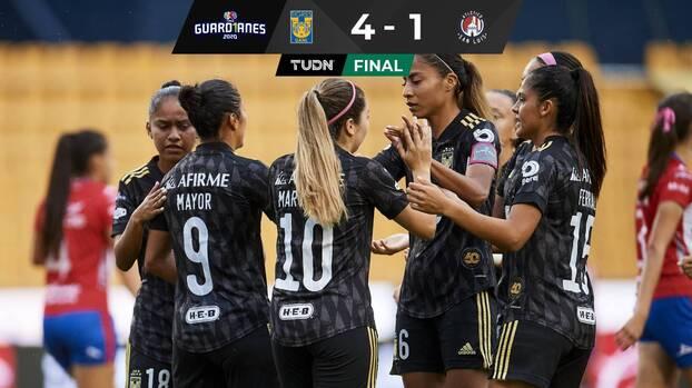 Tigres, a medio gas, goleó al Atlético de San Luis en el Volcán