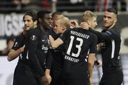 Frankfurt players celebrate their side's opening goal during the Europa League Group F soccer match between Eintracht Frankfurt and Standard Liege in the Commerzbank Arena in Frankfurt, Germany, Thursday, Oct.24, 2019. (AP Photo/Michael Probst)
