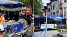 Video: remueven autobús de la MTA del edificio contra el que se estrelló en Brooklyn