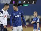 El Everton y el Tottenham dividieron puntos en la Jornada 32 de la Premier League al empatar 2-2.