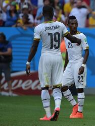 Ghana's defender John Boye (2nd R) reacts to scoring an own goal with his teammates during the Group G football match between Portugal and Ghana at the Mane Garrincha National Stadium in Brasilia during the 2014 FIFA World Cup on June 26, 2014. AFP PHOTO / GABRIEL BOUYS (Photo credit should read GABRIEL BOUYS/AFP/Getty Images)