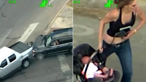 Llevando un bebé en el auto: una mujer huye de la policía, se estrella y trata de escapar