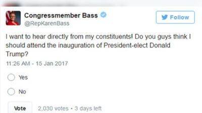 Una congresista somete a votación en Twitter si debe ir a la toma de posesión de Trump
