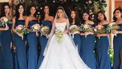 De rivales a fabulosas damas de honor: varias excompañeras de Miss Tailandia 2018 asistieron a su boda