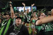 Jun 19, 2021; Austin, TX, USA; Austin FC fans react after the first game at Q2 Stadium against the San Jose Earthquakes. Mandatory Credit: Scott Wachter-USA TODAY Sports