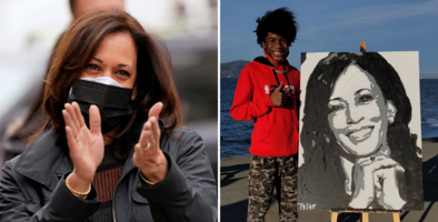 """""""¡Ella me llamó!"""": Kamala Harris agradece a adolescente de California el retrato que le pintó"""