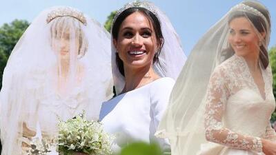Tres novias, tres vestidos: así lucieron Lady Di, Kate Middleton y Meghan Markle en sus bodas