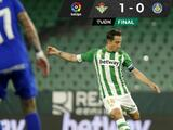 Betis vence al Getafe y ya está en zona de Europa League; Guardado fue titular