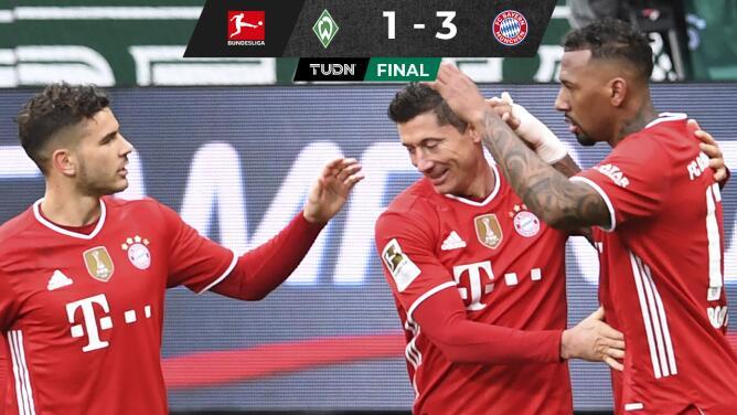 Bayern derrota al Werder Bremen y sigue firme en la cima