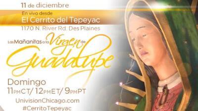 Hoy transmitiremos en vivo Las Mañanitas a la Virgen de Guadalupe desde el Santuario de Des Plaines