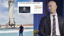 Miles firman petición para que Jeff Bezos no regrese al planeta tierra tras su viaje espacial