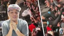 Eduin Caz sufre tremenda caída durante presentación de Grupo Firme: El video del momento en que fue jalado por una fan