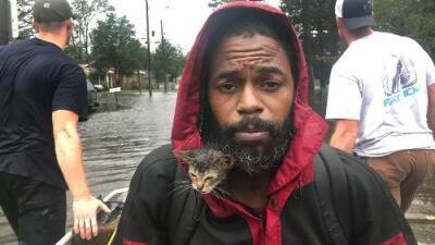 La foto viral de 'Survivor', el gatito rescatado de las inundaciónes de Florence colgado al cuello de su dueño