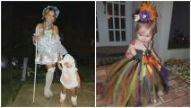 La pequeña Kamilia se lució de brujita y ovejita en Halloween