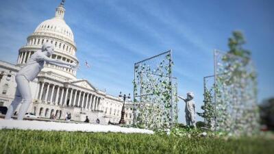 Un niño enjaulado delante del Capitolio les recuerda a los congresistas que aún hay familias separadas