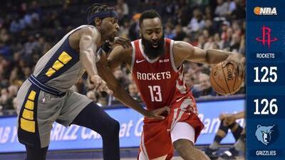 James Harden anota 57 puntos, pero los Rockets pierden ante los Grizzlies