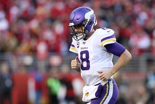 SANTA CLARA, CALIFORNIA - JANUARY 11: Kirk Cousins #8 of the Minnesota Vikings runs off the field after being sacked in the fourth quarter against the San Francisco 49ers during the NFC Divisional Round Playoff game at Levi's Stadium on January 11, 2020 in Santa Clara, California. (Photo by Sean M. Haffey/Getty Images)
