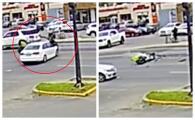 Captan en video momento en que conductor atropella a motociclista y huye de la escena