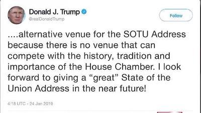Trump pospone el discurso del Estado de la Unión hasta que termine el cierre de gobierno