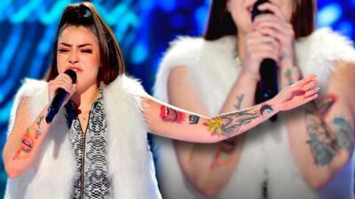 Los labios que Giselle Amelunge lleva tatuados en la piel impactan al jurado de Reina de la Canción
