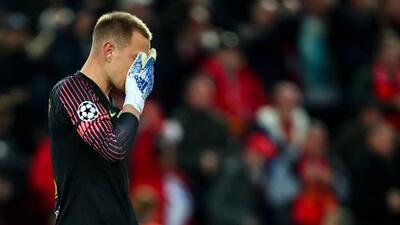 Ter Stegen abandonó entre lágrimas la cancha de Anfield