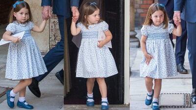 Muy seria, la princesa Charlotte acompañó a su hermano, el principe Louis, el día de su bautizo