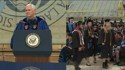 Estudiantes abandonan su propia graduación para protestar por el discurso de Michael Pence