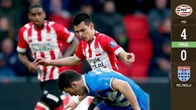 El 'Chucky' no hizo gol, pero dio asistencia en el triunfo del PSV sobre el Zwolle
