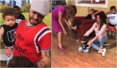 En fotos: Matías, el hijo de Nacho, robó cámara en Despierta América