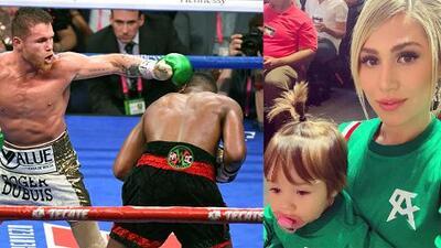 Canelo estuvo acompañado por su hija, su novia, exmujeres y otros famosos durante la pelea en Las Vegas