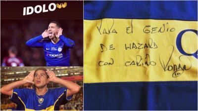 Hazard celebró con el 'Topo Gigio' de Riquelme y recibió un regalo muy especial