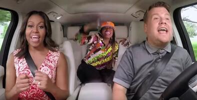 Stevie Wonder, Beyoncé y Missy Elliott en el menú del Carpool Karaoke con Michelle Obama
