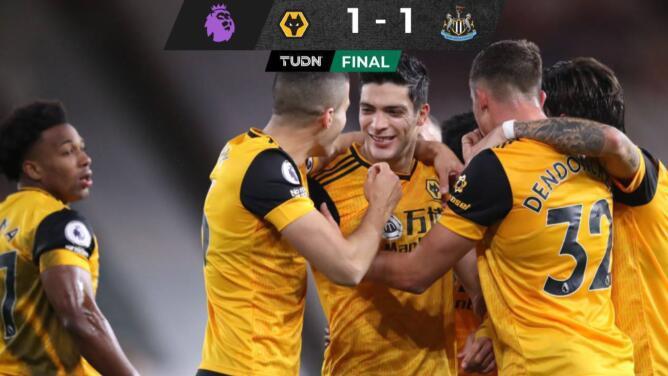 Con golazo de Jiménez, el Wolverhampton empató con el Newcastle