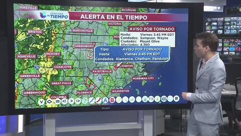 Aviso de Tornado para Alamance, Chatham y Randolph