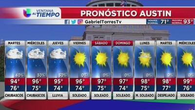 Lunes caluroso con cielos parcialmente nublados para Austin