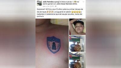 Un niño de 12 años se tatuó el escudo de Pachuca como regalo de Reyes