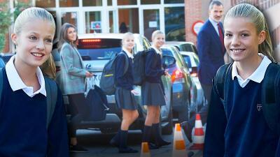 Aunque ya están en secundaria, a Leonor y Sofía sus papás las acompañan al regreso a clases 🤦♀️